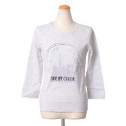 シーバイクロエ 8部袖丈Tシャツ ライトプリント コットン ライトグレー