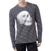 アレキサンダーマックイーン スカルプリントストライプロングTシャツ ブラック