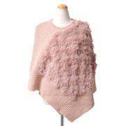 マレーラ ファー付きポンチョ ウール混合 ピンク