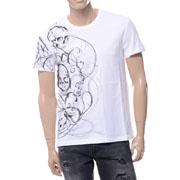 アレキサンダーマックイーン スカルプリントラウンドネック半袖Tシャツ コットン ホワイト