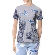 ステラマッカートニー  シャークプリントTシャツ コットンストレッチ グレー