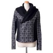 マサヒロミヤザキ フードボア襟付きジャケット ウールキュプラ ホワイト/ブラック