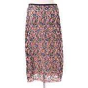 オデイ レースタイトスカート 豪華刺繍 ピンクブルーミックス