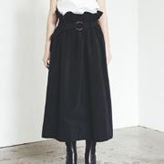 トモウミオノ ウエストゴムAラインスカート クリスピー ブラック