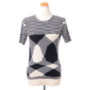 ミッソーニ ラウンドネック半袖セーター 羊毛 ブラックホワイトミックス