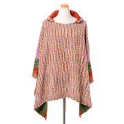 ミッソーニ フード付きショートポンチョ 羊毛 オレンジミックス