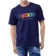 ミッソーニ レインボーロゴプリントTシャツ コットン ネイビー