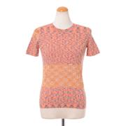 ミッソーニ 半袖クルーネックセーター 羊毛混合 オレンジミックス