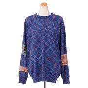 ミッソーニ クルーネック長袖セーター 羊毛混合 ブルーミックス