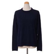 プラスプラス 丸襟長袖セーター ハイゲージウール ネイビー