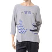 ブランドユニーク ミッキービジュー丸襟セーター カシミア ライトグレー