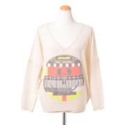 ブランドユニーク Vネックスマイルセーター ハイゲージカシミア ホワイト