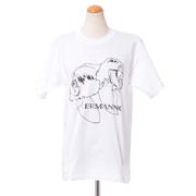 エルマノシェルビーノ 半袖丸襟カットソーTシャツ コットン ホワイト