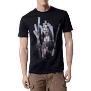 ニールバレット モナリザコラージュラウンドネック半袖Tシャツ コットン ブラック