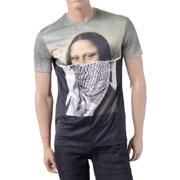ニールバレット モナリザハイブリットラウンドネック半袖Tシャツ コットン ブラック