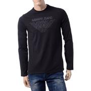 アルマーニジーンズ ロゴプリントロングTシャツ ブラック