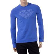 アルマーニジーンズ ロゴプリントロングTシャツ ブルー