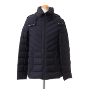 レスピーギ フード付きミディアム丈コート ストレッチダウン ブラック