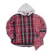 スタジオセブン カスタムフードチェックシャツ レッド