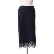 エルマノシェルビーノ 裾レースタイトスカート 一枚仕立て ブラック
