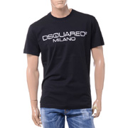 ディースクエアード 旧ブランドロゴミラノプリントTシャツ コットン ブラック