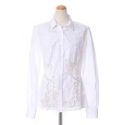 エルマノシェルビーノ シャツ襟ブラウス レース ホワイト