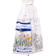 ミー 刺繍ロングスカート コットン ホワイト