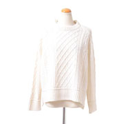 プラスプラス アラン編みラウンドセーター ウールカシミア バニラ