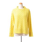 プラスプラス アラン編みラウンドセーター ウールカシミア レモン
