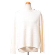 プラスプラス マリン風丸襟セーター カシミア バニラホワイト