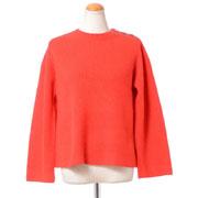 プラスプラス マリン風丸襟セーター カシミア レッド