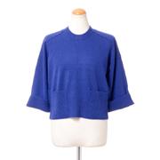 プラスプラス ショート丈セーター カシミヤ ブルー