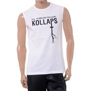 ラフシモンズ Sleeveless slim fit T-shirt with Kollaps print