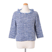 アンクレール 七分袖セーター コットン混合 ミックス
