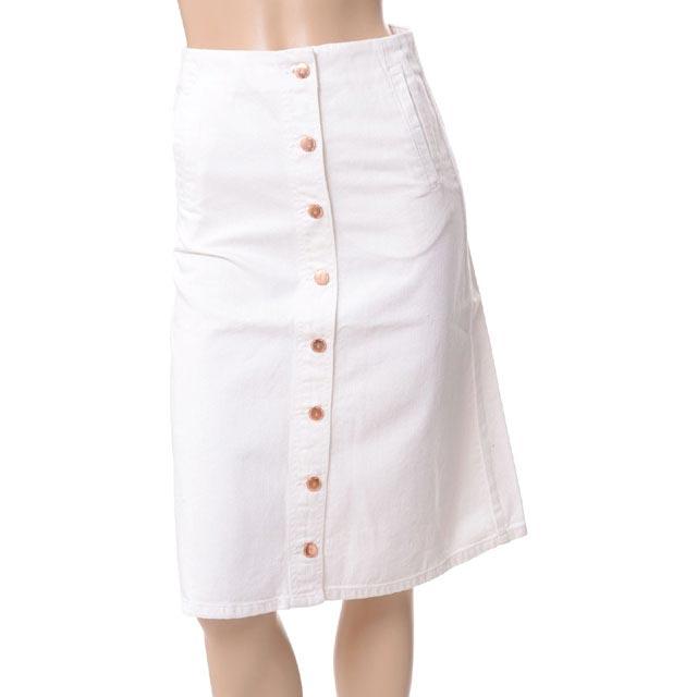 アールト (AALTO) ボタンデニムスカート コットン ホワイト