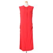 マルニ フレンチスリーブドレス クレープサテン クリムゾンレッド