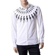 ニールバレット シャツ サンダープリント ホワイト