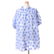 ディーチェカヤック 水玉半袖ロングブラウス シフォン 薄いブルー