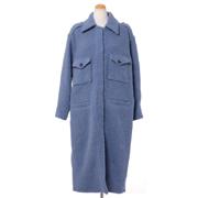 テラ シャツ襟コート ウールミックス ブルー