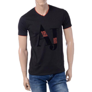 アルマーニジーンズ AJプリントVネックTシャツ コットンジャージー ブラック