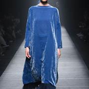 チカ キサダ ベロア長袖ワンピースドレス 光沢のあるベロア ブルー