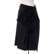 チカ キサダ フラワーモチーフスカート ウールストレッチ ブラック