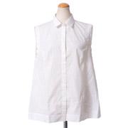 ブルネロクチネリ ノースリーブシャツ襟ドットブラウス コットン ホワイト