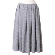 スタジオヨコ フレアースカート シルク ブロックチェック