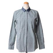 ゴールデングース ギンガムチェックシャツ コットン ホワイト/グリーン