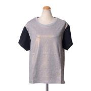 ゴールデングース バイカラーラメTシャツ コットン ラメグレー/ブラック