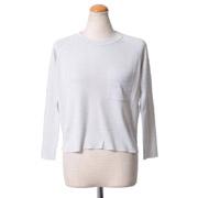 ゴールデングース 丸襟長袖セーター ウールシルク ホワイト
