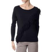 ドロシーシューマッハ 斜めフリンジ使い丸襟セーター ウールハイゲージ ブラック