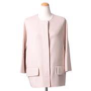 マルニ ノーカラーショート丈コート 一枚仕立てウールカシミア ピンク