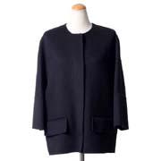 マルニ ノーカラーショート丈コート 一枚仕立てウールカシミア ネイビー